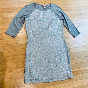Ted Baker gray stretch sequin dress